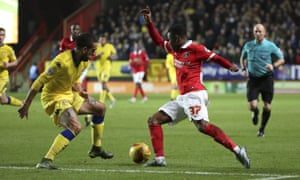 Ademola Lookman in action for Charlton against Leeds in the Championship in December 2015.