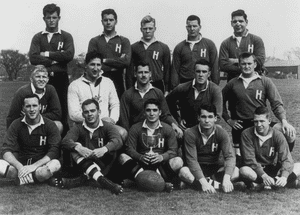 Edward Kennedy, far left of back row, in the Harvard rugby team in 1955.