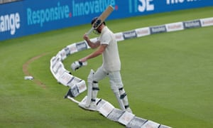 England's Ben Stokes angrily walks off after his dismissal.