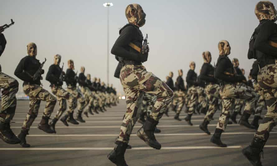 Saudi security forces take part in a military parade. The US has been the main supplier for most Saudi military needs in recent years.