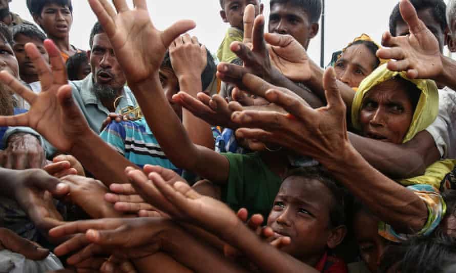 Rohingya refugees at Kutupalong refugee camp in Ukhiya near the Bangladesh-Myanmar border.