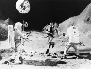 Filming Diamonds are Forever on a replica of the lunar surface at Pinewood studios, Buckinghamshire, 1971