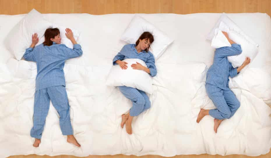 Woman in different sleep positions
