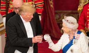 Donald Trump and the Queen during the state banquet at Buckingham Palace.