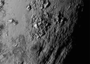 Icy mountains seen on the surface of Pluto.