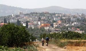 Walkers on Abraham's Path near Jenin