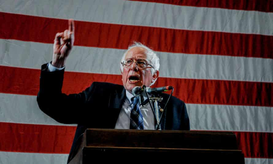 Bernie Sanders delivers a speech to Democratic delegates in Topeka, Kansas.