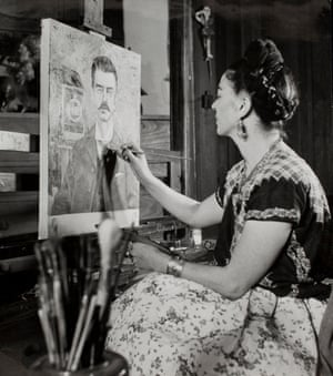 Frida painting Portrait of my Father Guillermo Kahlo in 1951, 10 years after his death
