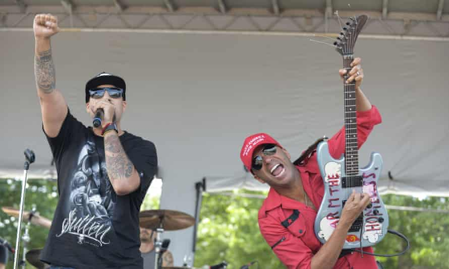 B-Real and Tom Morello of Prophets of Rage perform at End Poverty Now! rally before marching downtown to RNC.