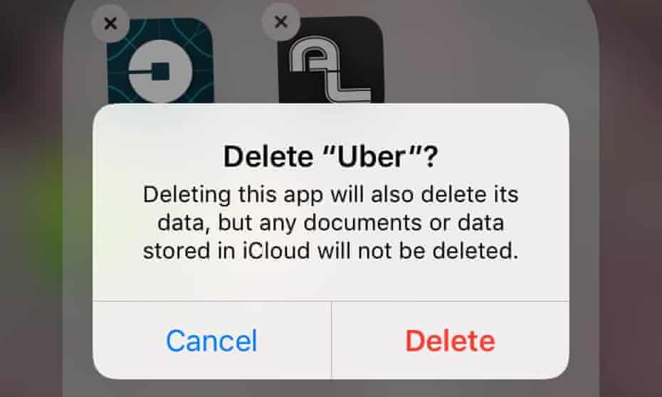 Screenshot of iPhone command as user deletes Uber.