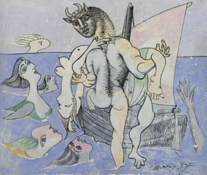 A minotaur clambers on to a boat in an image completed in 1937.
