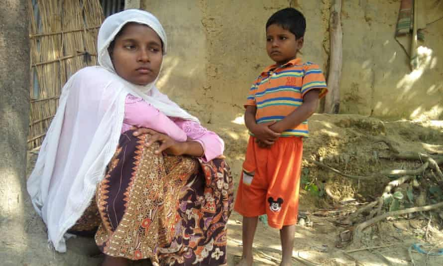 Rohingya refugee Jamalida Begum and her seven-year-old son Mohammad Ayaz at a refugee camp in Bangladesh. She fled Myanmar after speaking to journalists in 2016.