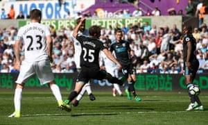 Fernando Llorente, centre, scores Swansea City's second goal against West Bromwich Albion.