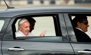 Pope Francis<br>FILE - In this Sept. 22, 2015, file photo, Pope Francis waves from a Fiat 500L as his motorcade departs Andrews Air Force Base, Md. ,after being greeted by President Barack Obama and first lady Michelle Obama. One of the two Fiats used by Pope Francis during this visit to Philadelphia last year is going up for auction. The car will be up for bid as part of the Philadelphia Auto Show black tie gala on Jan. 29. Bids will be accepted in person and online. (AP Photo/Andrew Harnik, File)