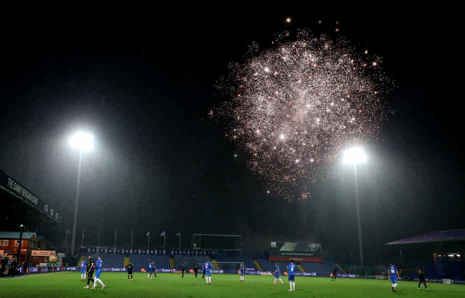 The match was momentarily stopped by fireworks.