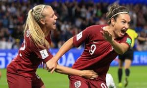 Jodie Taylor celebrates scoring England's winner.