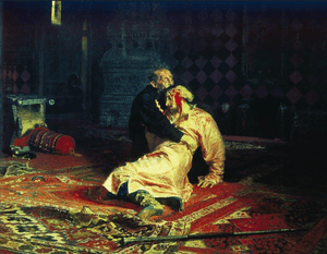 Detail from Ilya Repin's Ivan the Terrible and His Son Ivan on November 16, 1581