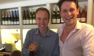 Matt Hancock with Alex Bourne at his former pub, the Cock Inn, in Thurlow.