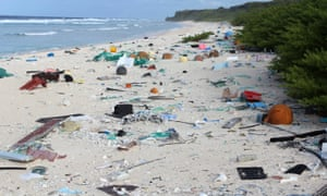 Plastic debris is strewn across the beach on Henderson Island