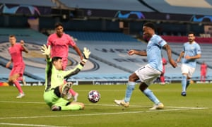Thibaut Courtois denies Raheem Sterling.