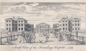 South view of the Foundling Hospital in 1749, now the site of Coram's Fields.