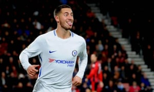 Eden Hazard, back after an ankle injury, celebrates scoring Chelsea's goal in the 1-0 victory over Bournemouth.