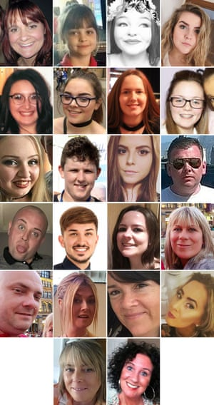 The 22 victims of the Manchester Arena terror attack.