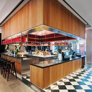 Bar area at CitizenM hotel Tower Hill, London