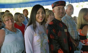City of Wanneroo councillor Hugh Nguyen (right) is seen during an Australia Day citizenship ceremony in the city of Waneroo, in Perth's north, Thursday, Jan. 26, 2017. In total in WA, 2744 people became citizens on Thursday, with the top five countries of origin being the UK, South Africa, India, Ireland and the Philippines.