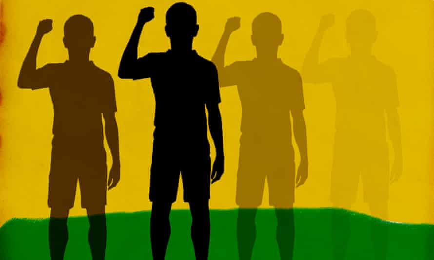 Illustration of sportsmen with a raised fist
