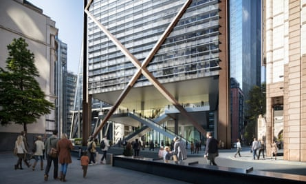 A 10m-high open space at ground level will restore a visual connection between the 12th-century St Helen's Bishopsgate and the 16th-century St Andrew Undeshaft churches.