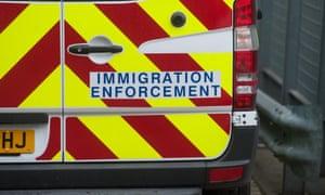 An immigration enforcement van