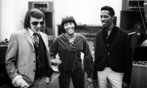 Between singing and spectacle ... Turner with producer Phil Spector (left) and then-husband Ike Turner (right) in Gold Star Studios in Los Angeles, 1966.