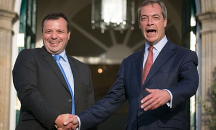 Nigel Farage, right, with Arron Banks after the businessman first became a Ukip donor in 2014