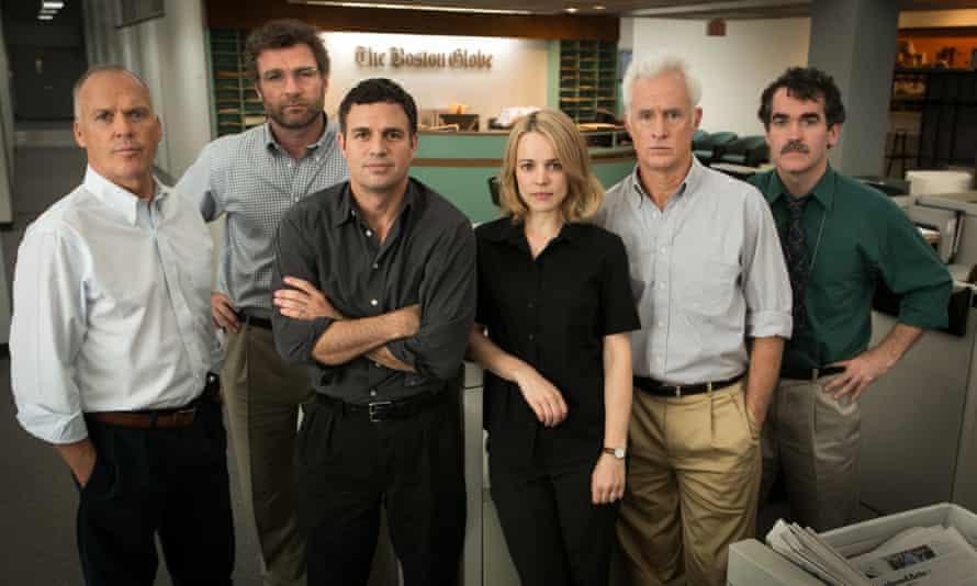 Hack-chic … Michael Keaton, Liev Schreiber, Mark Ruffalo, Rachel McAdams, John Slattery and  Brian d'Arcy James in Spotlight