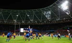 France's game with Romania became the first Rugby World Cup match to be played at the Olympic Stadium in Stratford