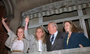 Jean-Marie Le Pen and his three daughters (from L) Marine, Yann and Marie-Caroline, 1988.