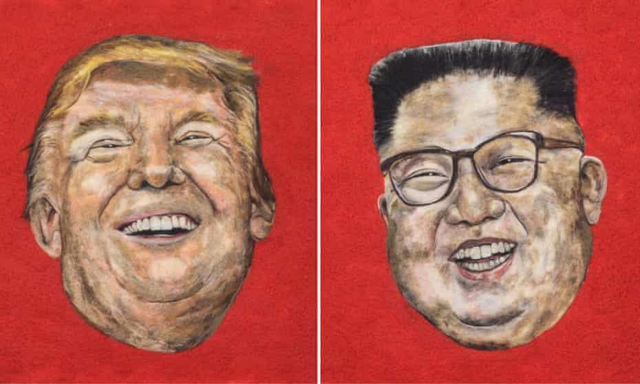 Deeply felt … Donald Trump and the Korean leader Kim Jong-Un in Sarah Vaci's textile piece Pest and the Profound.