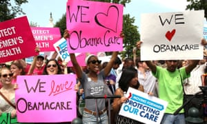 Obamacare supporters react to the US Supreme Court decision to uphold President Obama's health care law, 28 June, 2012, Washington, DC.