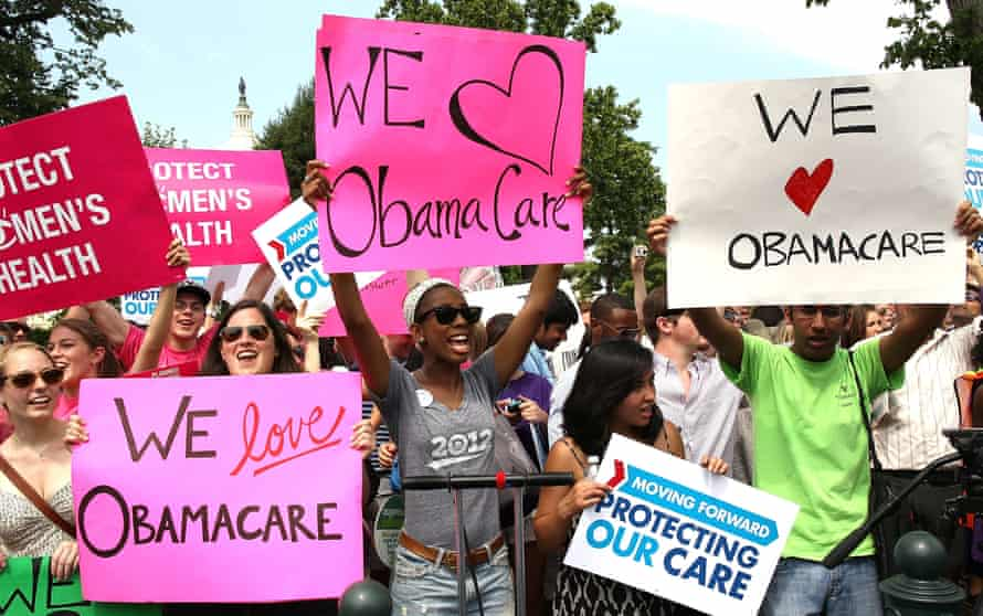 Supreme Court Upholds Obama's Affordable Care ActWASHINGTON, DC - JUNE 28: Obamacare supporters react to the U.S. Supreme Court decision to uphold President Obama's health care law, on June 28, 2012 in Washington, DC. Today the high court upheld the whole healthcare law of the Obama Administration. (Photo by Mark Wilson/Getty Images)