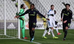 Everton's Ademola Lookman celebrates after opening the scoring.
