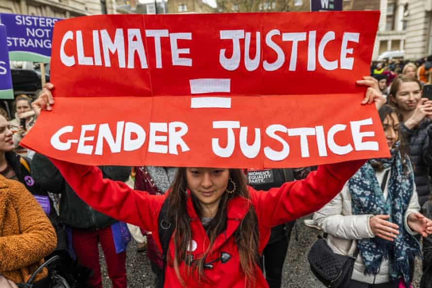 Women's march in London on 8 March 2020