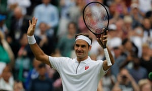 Roger Federer celebrates a straightforward win over Matteo Berrettini.