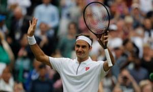 Roger Federer celebrates a straightforward win over Matteo Berrettini.