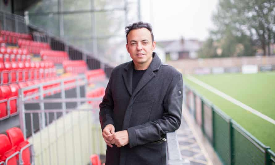 Dorking Wanderers founder, chairman and manager Marc White at the club's Meadowbank stadium.