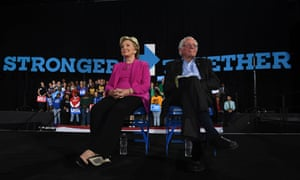 Hillary Clinton and Bernie Sanders at an Democratic party campaign event in Raleigh, North Carolina, in November 2016
