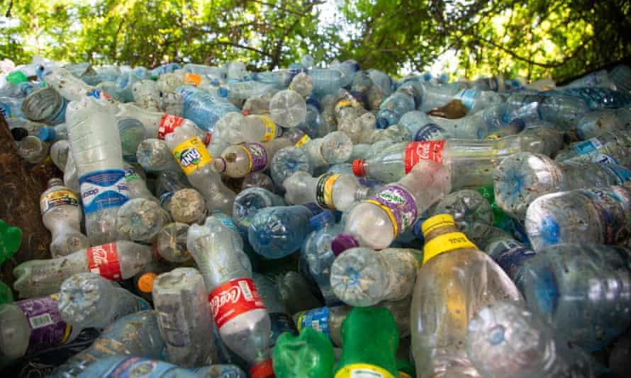 Plastic bottles collected at the Dar es salaam University dump.