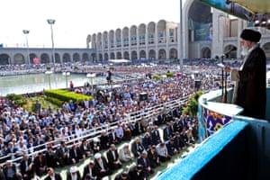 Ayatollah Ali Khamenei, Iran's supreme leader, addresses the crowd at a prayer ceremony in Tehran