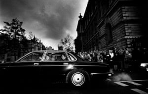 Lady Margaret Thatcher leaving Downing Street, 21 November 1990. (Archive ref. OBS/9/6/2/6/T).