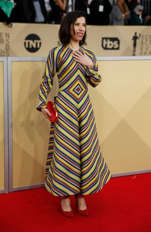 Sally Hawkins, who was nominated for her performance in The Shape of Water, in Christian Dior Couture.
